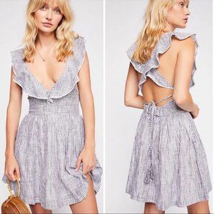 Free People Heartlines dress blue stripes small